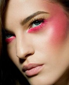 neon pink undereye liner and soft cerise cheek to temple panel with pale nude pink matte lip colour