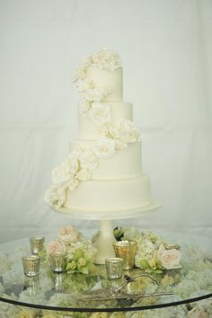 Classic Wedding Cake With Cascading Flowers | photography by http://rebekahwestover.blogspot.com/