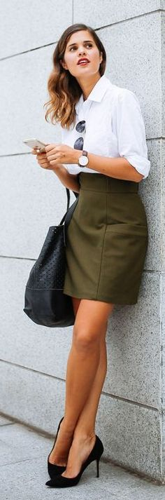 A Pair & A Spare Khaki With Black And White Office Chic Outfit Idea