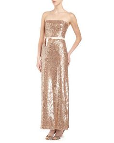 BCBG Sequin Belted Gown, Champagne    $229.00