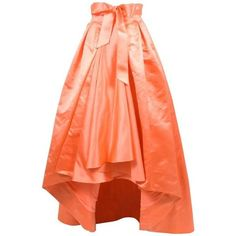 """Preowned Christian Dior Pre Fall 2013 """"jennifer Lopez"""" Coral Silk Full... (€2.935) ❤ liked on Polyvore featuring skirts, dip hem skirts, red, pleated high low skirt, silk pleated skirt, red pleated skirt, red knee length skirt and coral high low skirt"""