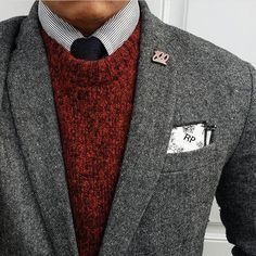 Red sweater. Grey jacket/blazer. Striped shirt. Black tie. @polished_men • 74 Me gusta