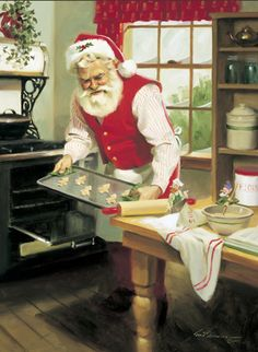 """Busy Bakers"" Boxed Christmas Cards by Tom Browning depicts Santa baking cookies in his kitchen Father Christmas, Santa Christmas, Christmas Pictures, Winter Christmas, Christmas Time, Christmas Cookies, Christmas Kitchen, Christmas Baking, Christmas Decor"