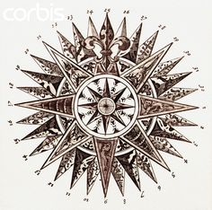 17th-Century Drawing of a Compass Rose by Blaue