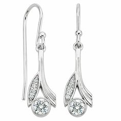 These nature-inspired earrings feature bezel-set diamonds framed by sleek precious metal leaves and pavé-set diamonds. Available in White Gold. Bling Wedding, Wedding Jewelry, Brilliant Earth, Diamond Earrings, Jewelery, Creations, Fine Jewelry, White Gold, Engagement Rings