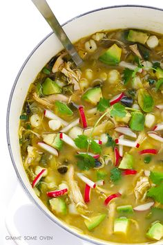 Gluten free · Serves Easy Chicken Posole Verde recipe is ready to go in just 20 minutes on the stove, or you can let it simmer in the slow cooker all day. It's flavorful, naturally gluten-free, and SO comforting and… Crockpot Recipes, Soup Recipes, Chicken Recipes, Cooking Recipes, Healthy Recipes, Cooking Stuff, Keto Recipes, Posole Verde Recipe, Chicken Verde
