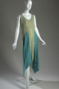 Green silk charmeuse evening gown with metallic thread embroidery and pearl beadwork by Callot Soeurs, French, c. 1928. Front