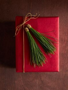 Even the smallest gift feels super special when you tie it with these easy-to-make pine needle tassels. All you need are pine needles and red twine.
