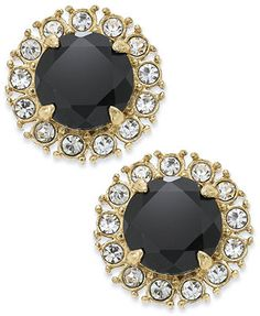 kate spade new york Gold-Tone Jet Stone and Clear Crystal Button Earrings