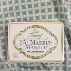 """Too Faced No makeup makeup This """"No makeup makeup"""" face palette offers a bronze veil, luminizer, brightener, concealer, creme blush & blush. Bronzing veil, blush & brightener have been swatched once. Luminizer, creme blush & concealer have been used once. Gives you a natural look, with a glow  ****Offers are welcome***** Too Faced Makeup Blush"""