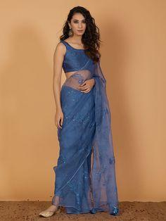Magenta Hand Embroidered Modal Silk Kurta with Palazzo and Organza Dupatta- Set of 3 Sari Design, Diy Design, Dress Indian Style, Indian Dresses, Pakistani Dresses, Indian Sarees, Sari Dress, The Dress, Saree Wedding