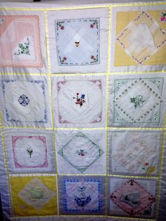I love hankies and this hankie quilt is a masterpiece. I love how she layered the thin ones and folded to fit and also folded to  show the fancy work. Just lovely.