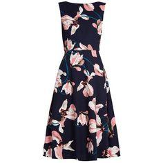 Erdem Maia Kayo Lily-print sleeveless canvas dress ($697) ❤ liked on Polyvore featuring dresses, pink multi, navy blue dress, sleeveless dress, print dress, pink kimono and kimono dress