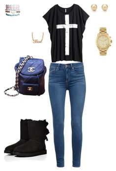 """DRESS TO IMPRESSE"" by jaylasolomon ❤ liked on Polyvore featuring косметика, Paige Denim, H&M, Chanel, Wet Seal, Tiffany & Co., Michael Kors и UGG Australia"