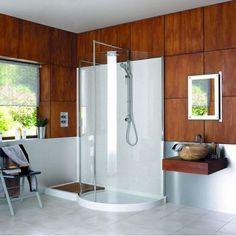 Matki Original Walk-in Curved Corner Shower Enclosure Wet Room Shower, Small Bathroom With Shower, Large Bathrooms, Clean Shower, Glass Shower, Corner Shower Enclosures, Quadrant Shower Enclosures, Bad Inspiration, Bathroom Inspiration