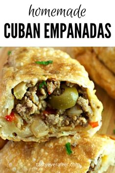 Nov 2019 - Cuban Beef Empanadas are fried (or baked) hand pies filled with a spiced ground beef mixture with lots of sliced green olives and served with a chimichurri sauce. Homemade dough recipe is included! Cuban Empanadas Recipe, Beef Empanadas, Flaky Empanada Dough Recipe, Meat Recipes, Mexican Food Recipes, Cooking Recipes, Ethnic Recipes, Meat Appetizers, Street Food