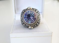 BIG New SARDA Sterling Silver 925 Rainbow Color Change Quartz UNIQUE Ring 7 #Sarda #Statement