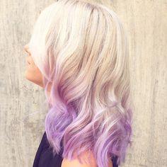 lavender dip dye for platinum blonde hair