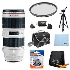 Canon EF 70-200mm f/2.8L IS II USM Telephoto Zoom Lens for Canon SLR Cameras w/ 77mm Multicoated UV Protective Filter, Deluxe Bag, Lens Cap Keeper, Microfiber Cleaning Cloth, Memory Card Wallet, USB 2.0 Card Reader, Professional Tripod by Canon. $2199.00. Improving upon one of the most celebrated lenses in the Canon EF line is no easy feat, but Canon has done just that. The all-new EF 70-200mm f/2.8L IS II USM increases the speed, performance and optical quality of the EF 70-...