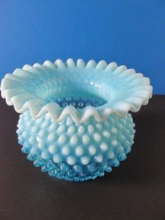 North American Fenton Cranberry Opalescent Hobnail 4 1/2 Inch High Rose Bowl