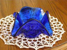 Vintage Cobalt Blue Glass Bowl Mid Modern Art Glass by parkie2, $19.85
