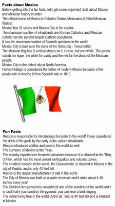 Mexico info for kids http://firstchildhoodeducation.blogspot.com/2013/11/mexico-info-for-kids.html