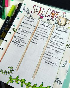 Bullet Journal Self-Care Page Ideas. Here are bullet journal pages to help you include self-care in your daily routine through daily habit trackers, self-care collection lists, gratitude logs, mood trackers and more.