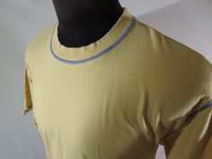 Orvis Mens XL T-Shirt 100% Cotton Yellow Blue Contrast Stitching EUC #Orvis #BasicTee