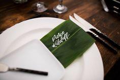 Tropical ti leaf wedding name card - Alannah Calligraphy - Anna Kim Photography