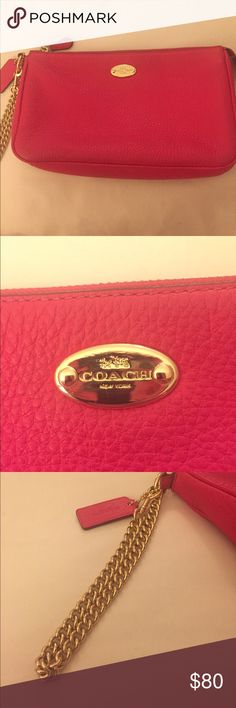 Large Pink Coach Wristlet Super cute Wristlet! Bright pink with gold chain strap. Great condition. 9x5 in size. Coach Bags Clutches & Wristlets
