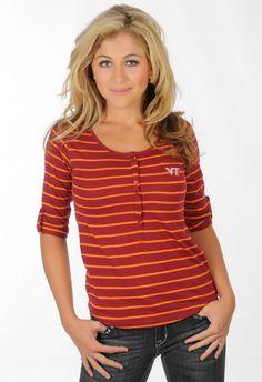 VT Striped Henley - University Girls Apparel - $35