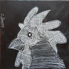 Rooster Head. 6 by 6 inch Gelly Roll pen on a black gesso'ed 1/4 inch plywood board.