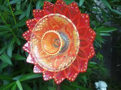 Garden Art - Glass Plate Flower -  Hand Painted in Pearlize Red, Orange & Yellow