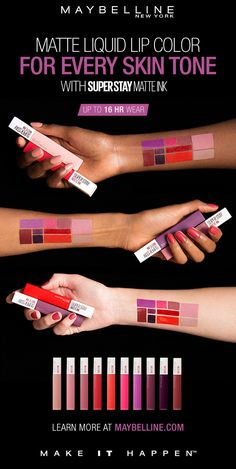 Our long lasting matte liquid lipstick is here! NEW Maybelline Super Stay Matte Ink gives you a flawless matte finish in a range of super saturated shades. Get up to a 16 hour wear with a comfortable matte finish that will last through your entire day. Its unique arrow applicator gives precise application for a mess-free finish.