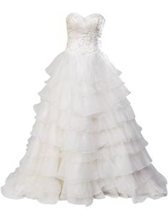 Artwedding Sweetheart Beaded Organza Tiered Ball Gown-Ivory