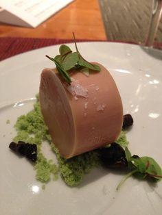new york city: wd-50. foie gras, beet kalamansi and pea soil. #foodporn #yummy