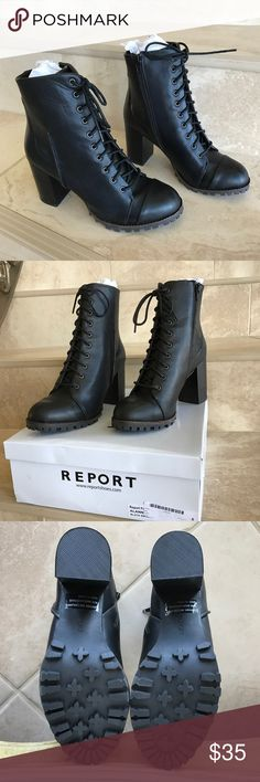 """Report Alana Lace Up Boot Brand new in box, almond toe, lace up vamp, textile construction, topstitched detail, lug sole, stacked block heel, approx 9"""" shaft height, 3.5"""" heel, side zip, material: textile upper, manmade sole. Report Shoes Lace Up Boots"""