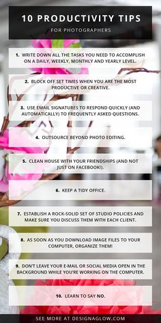 10 Productivity Tips for Photographers | Design Aglow