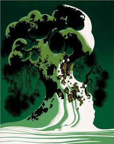 Eyvind Earle (American: 1916 - 2000) - Snow Covered Bonsai (1995)