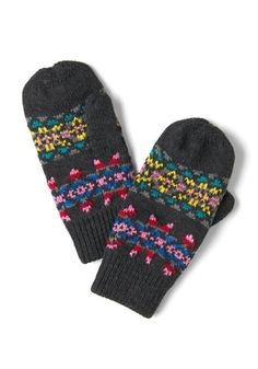 Charcoal, Calm, and Collected Mittens, #ModCloth