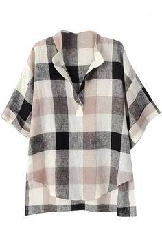 #Spring #AdoreWe #Oasap - #oasap Appealing Plaid Print Half Sleeve Blouse - AdoreWe.com