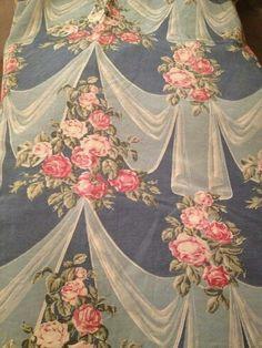 Barkcloth Era New England Harbor Blue Vintage Chintz Fabric Shabby Chic Style 7YDS Available