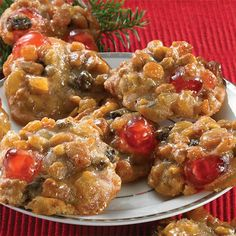 America's favorite holiday cakes made into delicious, soft cookies. Dense, moist Fruitcake Cookies are filled with cherries, pecans, and raisins! Easy Cookie Recipes, Fruit Recipes, Cooking Recipes, Cake Recipes, Cooking Bacon, Chicken Recipes, Recipies, Christmas Cooking, Christmas Desserts