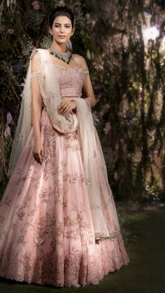 Stunning blush pink color lehenga and off shoulder blouse with net dupatta. Indian Wedding Outfits, Bridal Outfits, Indian Outfits, Bridal Dresses, Indian Reception Outfit, Eid Dresses, Pakistani Outfits, Indian Clothes, Wedding Attire