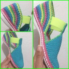 Crochet Sandals with elastic gusset.