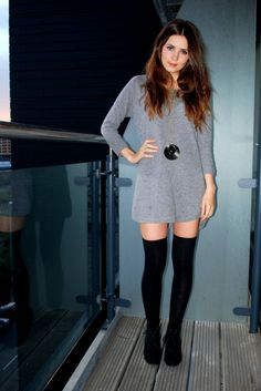knee high socks and a mini dress