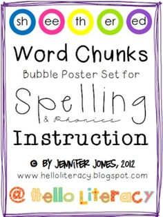 Word Chunk Wall Posters for Spelling & Phonics Instruction