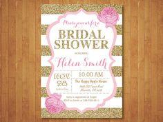 Pink and Gold Bridal Shower Invitation. Pink Black Gold Glitter. Floral. Bridal Brunch Invitation. Black Stripes. Printable Digital.