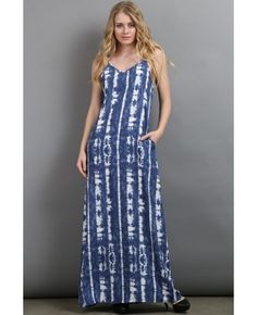 SLEEVELESS TIE DYE MAXI DRESS 100% POLYESTER MADE IN USA