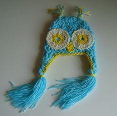 handmade Crochet Owl Hat Beanie Cap for Baby by SuperCrochetMom